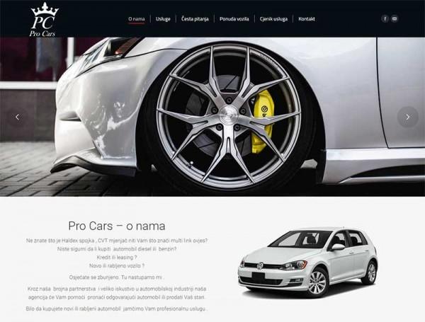 Pro Cars web stranica